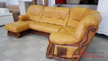 Кожаный угловой диван на деревянном каркасе
