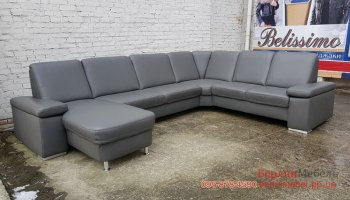 Новый большой кожаный П-образный диван
