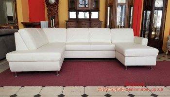 Кожаный п-образный диван