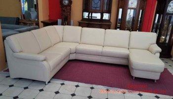Кожаный угловой п-образный диван Polipol