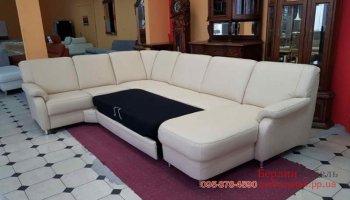 Кожаный угловой п-образный раскладной диван Polipol