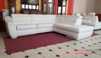 Новый кожаный угловой диван реклайнер
