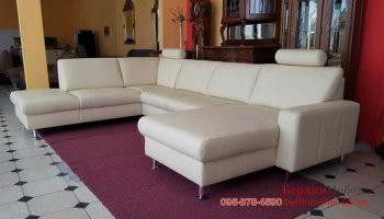 Новый кожаный угловой п-образный диван