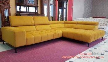 Угловой диван в ткани c пуфом