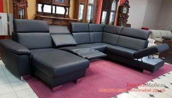 Кожаный п-образный диван с реклайнером