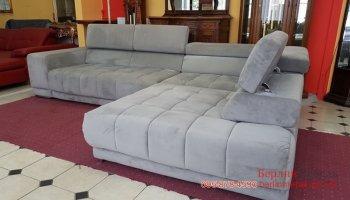 Угловой диван в ткани велюр