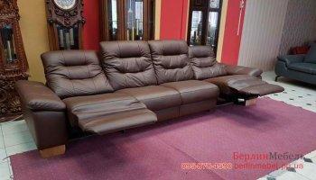 Большой кожаный диван реклайнер