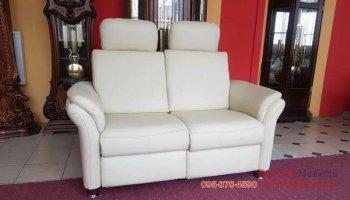 Кожаный мягкий диван релакс