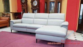 Кожаный угловой диван электро-реклайнер
