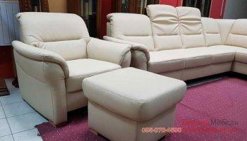 Кожаный угловой диван-кресло-пуф