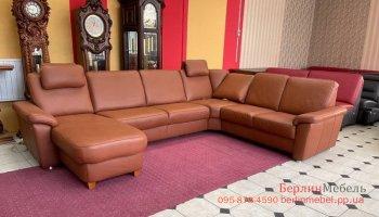 Кожаный п-образный диван электрореклайнер Polinova