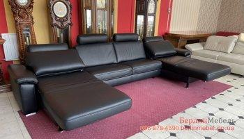 Кожаный п образный диван релакс