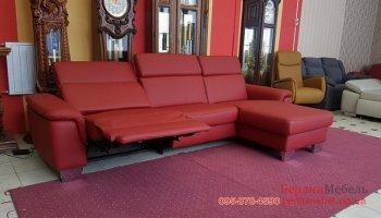 Модульный кожаный угловой диван реклайнер