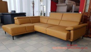 Новый кожаный угловой диван релакс