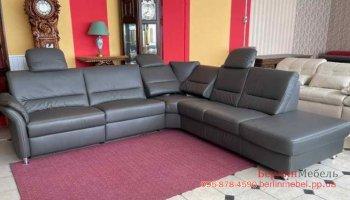 Кожаный угловой диван реклайне
