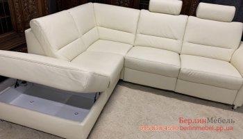 Кожаный угловой диван + кресло реклайнер