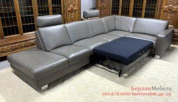 Кожаный раскладной угловой диван Полинова