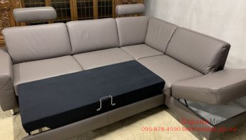 Кожаный угловой раскладной диван Polinova.