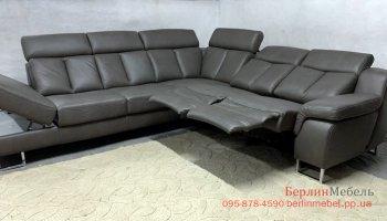 Угловой кожаный диван реклайнер Хукла