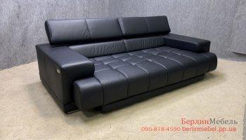 Большой кожаный  диван трансформер
