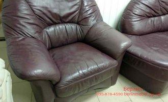 Кожаный угол+кресло Long life